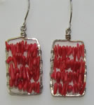 red coral on hand forged frame earrings