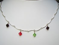 sterling silver and swarovski crystal birthstone necklace