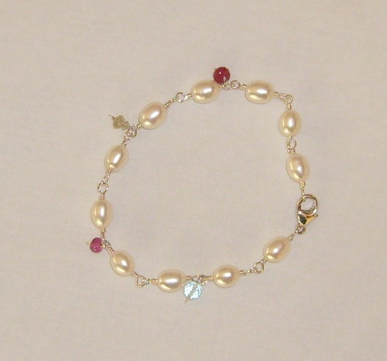 freshwater pearl bracelet with natural birthstone accents