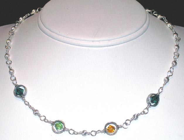 birthstone mother's necklace.  The birth stones of your choice surrounded by sterling silver.