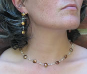 copper coin pearls with swarovski cryatals on handmade chain